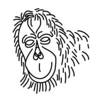 ícone de orangotango. doodle desenhado à mão ou estilo de contorno