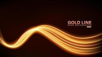linha de luz dourada em fundo escuro vetor