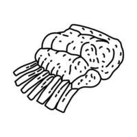 ícone de costela. doodle desenhado à mão ou estilo de contorno vetor