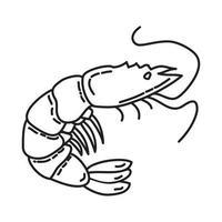 ícone tropical de camarão. doodle desenhado à mão ou estilo de contorno vetor
