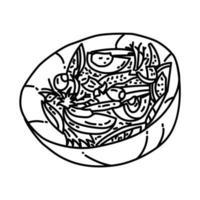 ícone de salade niçoise. doodle desenhado à mão ou estilo de contorno vetor