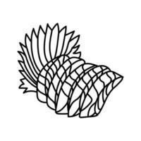 ícone de sashimi de salmão. doodle desenhado à mão ou estilo de contorno vetor