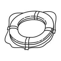 ícone de bóia de anel. doodle desenhado à mão ou estilo de contorno vetor