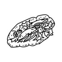ícone de socca. doodle desenhado à mão ou estilo de contorno vetor