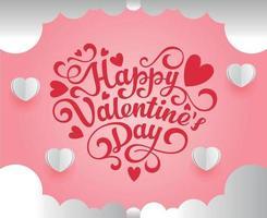 fundo rosa do dia dos namorados com corações 3D em branco vetor