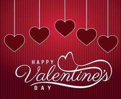 feliz santo dia dos namorados parabéns com vermelho e rosa. 14 de fevereiro vetor
