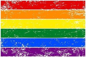bandeira do arco-íris lgbt. banner desenhado à mão colorido com textura grunge. ilustração vetorial vetor