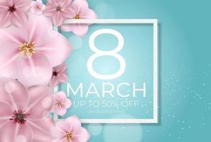 cartaz banner venda cartão internacional feliz dia 8 de março pode ser usado para publicidade, web, mídia social, cartaz, folheto, cartão comemorativo vetor