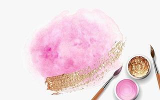 pinceladas rosa pastel, dourado e rosa, latas com guache, tinta acrílica com pincel de madeira 3D realista vetor