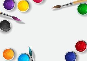 latas com guache, coleção de tinta acrílica definida nas cores do arco-íris com pincel de madeira 3D realista vetor