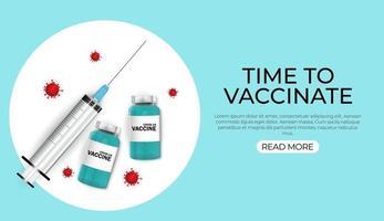 hora de vacinar banner sobre fundo azul com material médico vetor