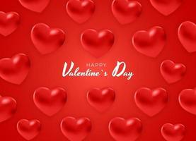 feliz santo dia dos namorados, design de efeito de corações vermelhos 3D vetor