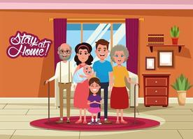 ficar em casa campanha com familiares vetor