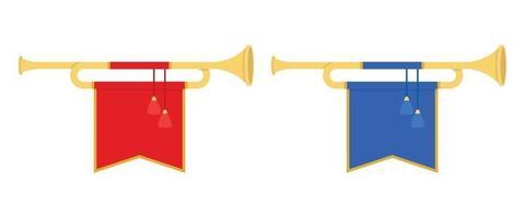 ilustração vetorial de trombetas de chifre dourado em estilo simples vetor