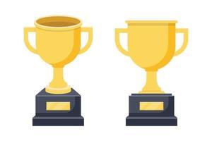 ilustração vetorial conjunto vencedor troféu dourado vetor