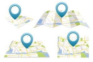 conjunto de mapa GPS com conjunto de ilustração vetorial pin vetor