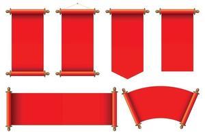 conjunto de ilustração vetorial de pergaminhos antigos vermelhos vetor