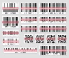 conjunto de código de barras do produto e ilustração vetorial de código qr vetor