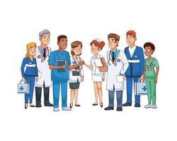 personagens profissionais da equipe médica vetor