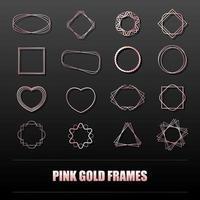 grande conjunto de armações de metal ouro rosa para banners, cartões, convites, casamentos e feriados. círculo de formas geométricas, coração, quadrado, estrela. vetor objetos isolados em um fundo preto.