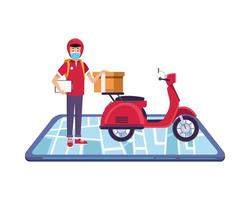 smartphone com entregador usando máscara facial em motocicleta vetor
