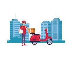 entregador com máscara facial com motocicleta na cidade vetor