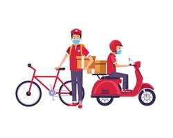 entregadores com máscaras faciais e motocicleta e bicicleta