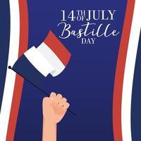 cartão comemorativo do dia da bastilha com a mão acenando uma bandeira da França vetor