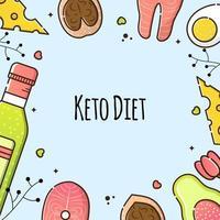 ilustração em vetor de dieta cetônica em um fundo azul. azeite, bife de salmão e abacate. produtos úteis para perda de peso, culinária. modelo de postagem para mídia social