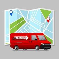 carro logístico com fundo do mapa da cidade