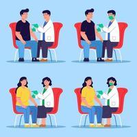 médico dá injeção de vacina no paciente vetor