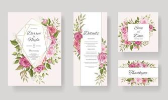 lindo conjunto de modelo de cartão de convite de casamento geométrico floral vetor