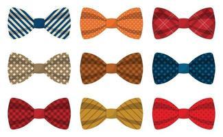 conjunto de ilustração vetorial de gravatas-borboleta coloridas vetor