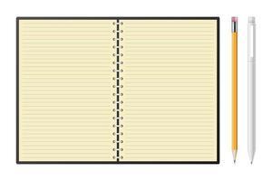 caderno com ilustração vetorial de lápis e caneta vetor