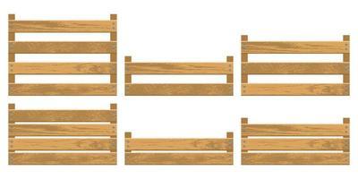 conjunto de ilustração vetorial de caixa de madeira para vegetais vetor