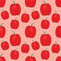 ilustração em vetor pimenta vermelha padrão sem emenda em estilo simples