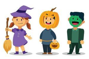 crianças fofas usam fantasia de halloween vetor