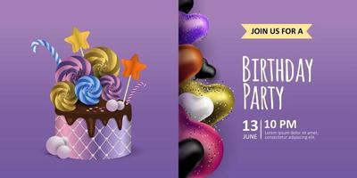 feliz aniversário fundo roxo. formato de coração de balões realistas coloridos e banner de convite, cartão postal e folheto de bolo de chocolate vetor