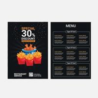 design de menu com desconto de comida especial em preto vetor