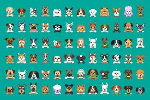 diferentes tipos de rostos de cachorro de desenho vetorial para design.