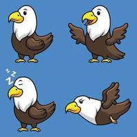 conjunto de coleta de mascote de desenho animado de águia vetor
