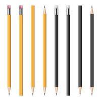 conjunto de ilustração vetorial realista de lápis vetor