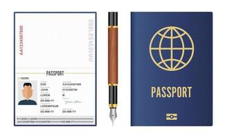 conjunto realista de passaporte internacional e caneta-tinteiro vetor