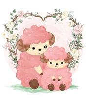 ilustração fofa de mamãe e bebê cordeiro em aquarela vetor