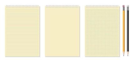 conjunto de cadernos realistas e ilustração vetorial de lápis vetor