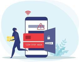 hacker ou ladrão criminoso de preto rouba navio inteligente de cartão de débito ou crédito em dados de telefone inteligente ou conceito de identidade pessoal, vetor