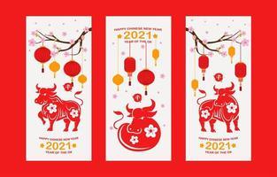 ano novo chinês 2021 ano da bandeira do boi vetor