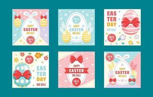 coleção colorida de postagens de marketing de mídia social para o dia da páscoa vetor