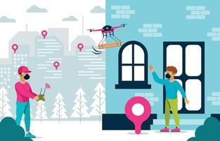 entrega drone sem tato em nova situação normal vetor