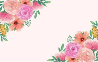 aquarela elegante primavera floral com flores frescas vetor